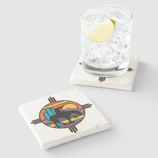 End of the Trail Native American Indian Stone Beverage Coaster