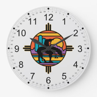 End of the Trail Native American Indian Large Clock