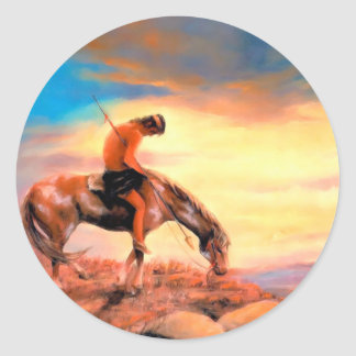 End of the Trail Native American Round Sticker