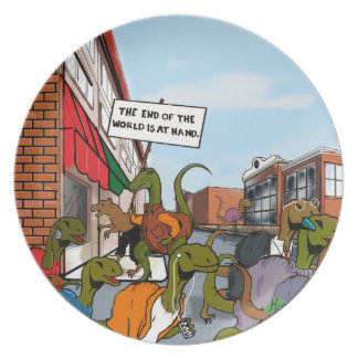 End of the World Dinosaurs Melamine Plate