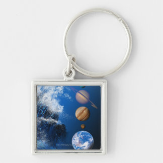 End of the World in 2012 conceptual computer Silver-Colored Square Keychain