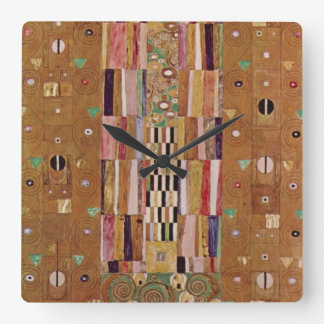 End of Wall, Stoclet Frieze, Klimt, Mosaic Pattern Square Wall Clock