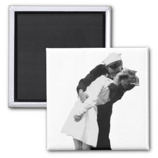 End of War Kiss 2 Inch Square Magnet