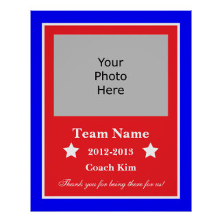 End of Year Coach Plaque - Red, White, and Blue Poster