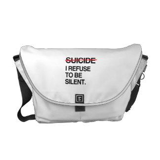 END SUICIDE I REFUSE TO BE SILENT MESSENGER BAG
