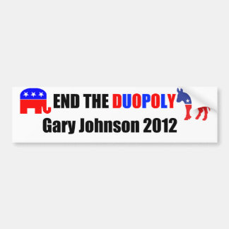 End the Duopoly - Gary Johnson 2012 Car Bumper Sticker