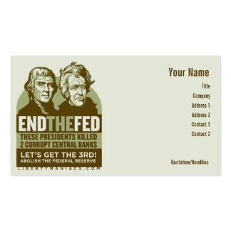 End the Fed Action Cards Double-Sided Standard Business Cards (Pack Of 100)