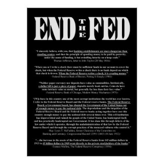 END THE FED Federal Reserve Quotes & Citations 1 Poster