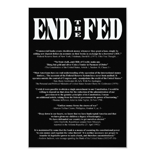 END THE FED Federal Reserve Quotes & Citations 2 Card