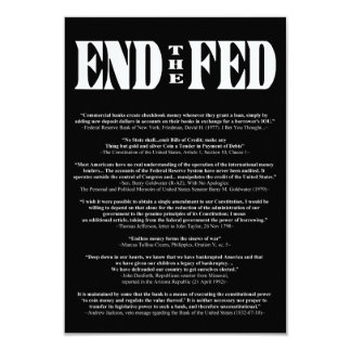 END THE FED Federal Reserve Quotes & Citations 2 3.5x5 Paper Invitation Card