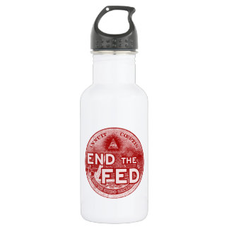 END THE FED - occupy/nwo/banksters/anonymous Stainless Steel Water Bottle
