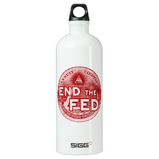 END THE FED - occupy/nwo/banksters/anonymous Water Bottle