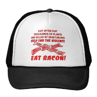 End The Violence Eat Bacon Trucker Hat