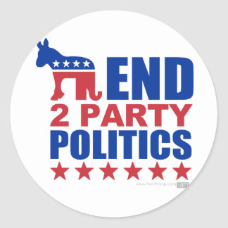 End Two Party Politics Classic Round Sticker
