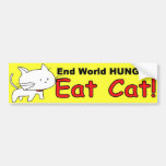 """End World Hunger"" - Funny Cat Bumper Sticker"
