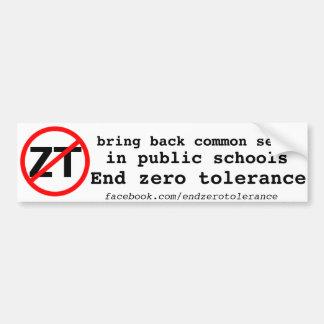 End Zero Tolerance Bumper Sticker