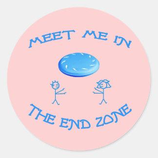 End Zone Frisbee Classic Round Sticker
