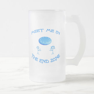 End Zone Frisbee Frosted Glass Beer Mug