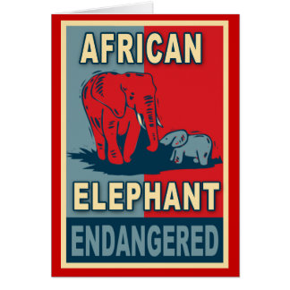 Endangered African Elephant Pop Art Tshirts Card