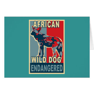 Endangered African Wild Dog Pop Art Tshirts Card
