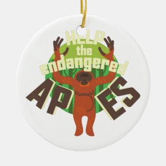 Endangered Apes Ceramic Ornament