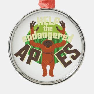 Endangered Apes Metal Ornament