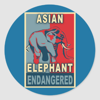 Endangered Asian Elephant Pop Art Tshirts Classic Round Sticker