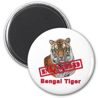 Endangered Bengal Tiger  Products 2 Inch Round Magnet