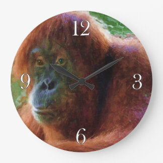 Endangered Female Orangutan Primate Wildlife Art Large Clock