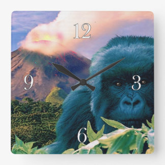 Endangered Mountain Gorilla & African Volcano Square Wall Clock