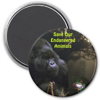 Endangered Mountain Gorilla & Frog Wildlife Magnet