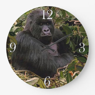 Endangered Mountain Gorilla & Rainforest Large Clock