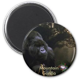 Endangered Mountain Gorilla & Tree Frog Art 2 Inch Round Magnet