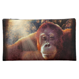 Endangered Orangutan & Rainforest Primate Art 2 Makeup Bag
