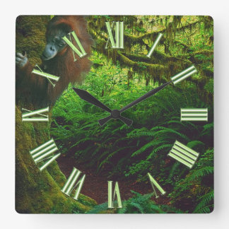 Endangered Orangutan & Rainforest Primate Image 2 Square Wall Clock