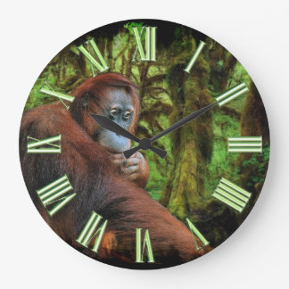 Endangered Orangutan & Rainforest Primate Image Large Clock