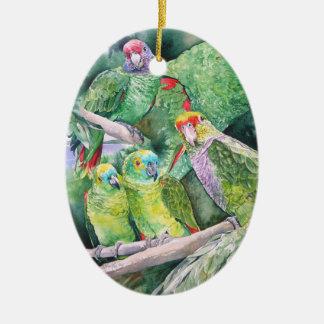 Endangered Parrots of Brazil's Atlantic Rainforest Ceramic Ornament