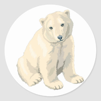 Endangered Polar Bear Classic Round Sticker