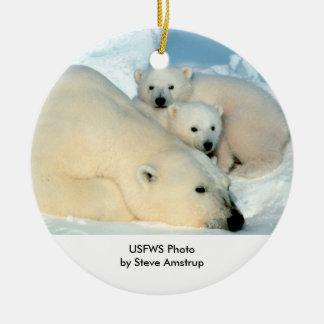 Endangered / Polar Bear & Cubs Ceramic Ornament