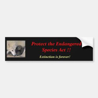 Endangered Species Bumper Sticker