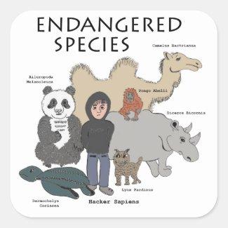 Endangered Species - Hacker Sapiens Square Sticker