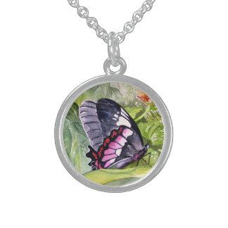 Endangered Tropical Butterflies Fine Art Round Pendant Necklace