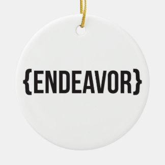 Endeavor - Bracketed - Black and White Ceramic Ornament