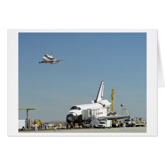 Endeavour on Runway with Columbia on SCA Overhea Card