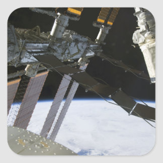 Endeavour's arm amidst International Space Stat Square Sticker