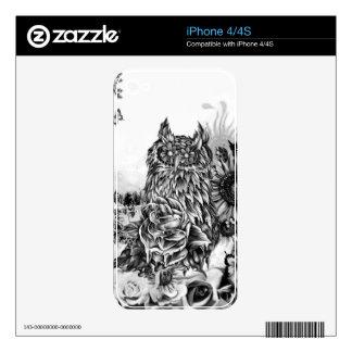 Endecha de la tierra, búho floral calcomanía para iPhone 4