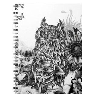 Endecha de la tierra, búho floral libro de apuntes