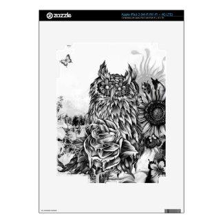 Endecha de la tierra, búho floral pegatina skin para iPad 3