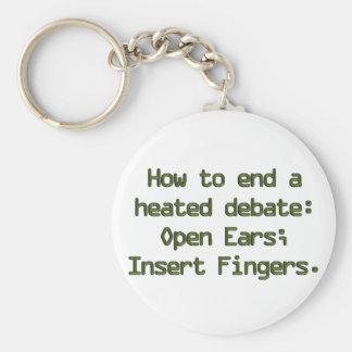 Ending political debate keychain