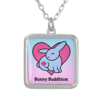 Endless Bunny Buddhism Square Pendant Necklace